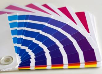 fan deck paint chart in blue and purple hues