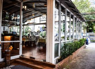 Glass doors into cafe