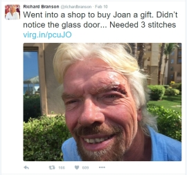Richard Branson tweet about walking into glass doors
