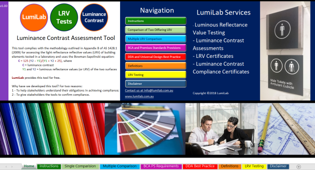 Luminance Contrast Assessment Tool by Access Central - Front Page Screen Image