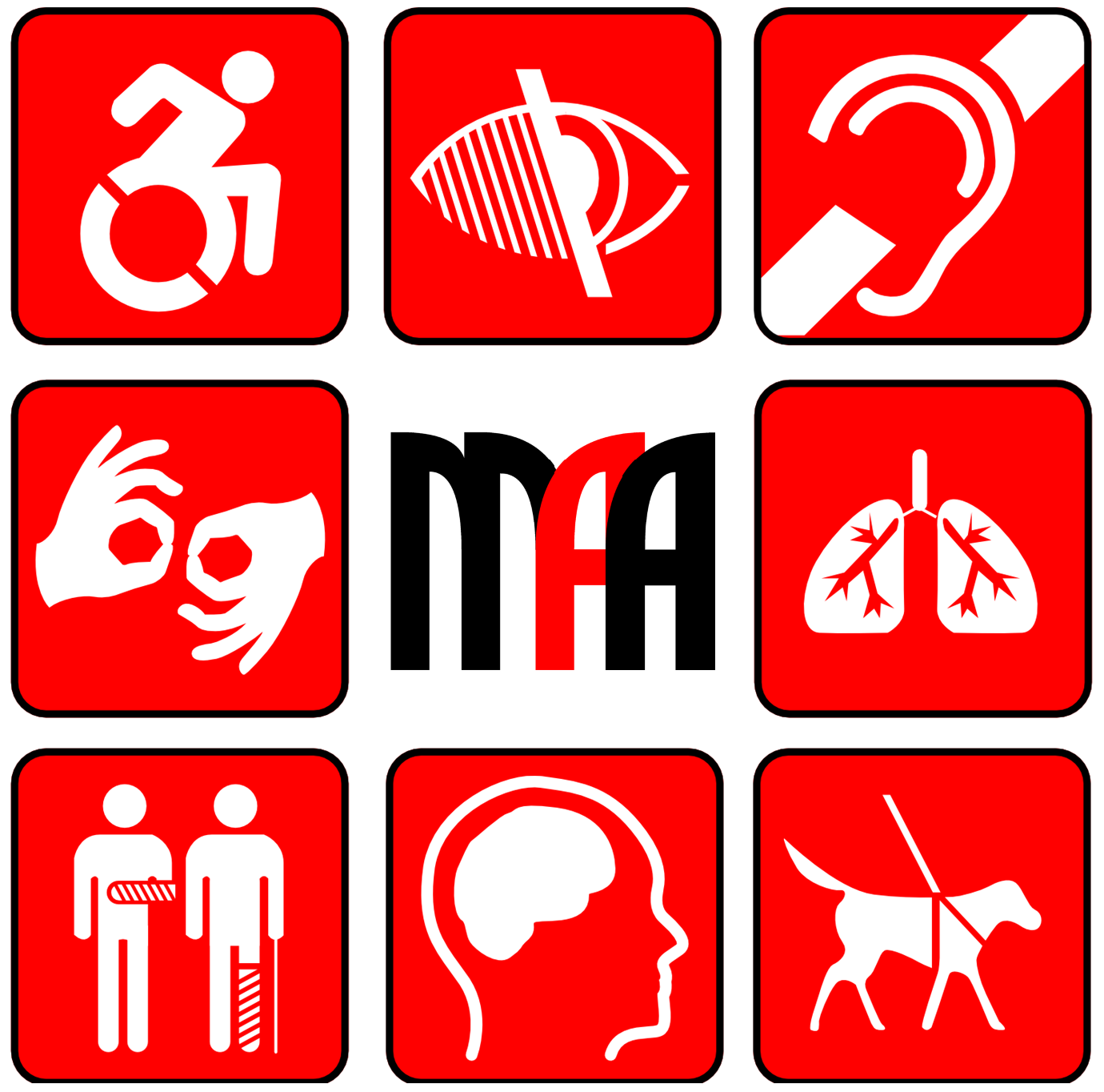 Melbourne Access Audits Logo 8 disability types pictograms